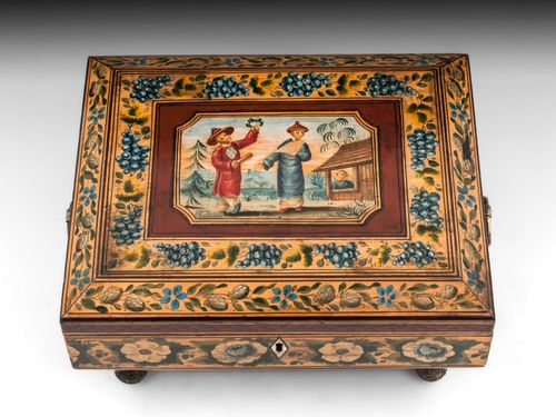 Regency Penwork Chinoiserie Sewing Box