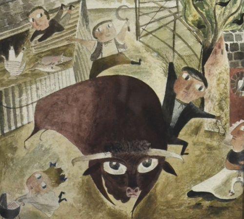 Edgar Herbert Grosvenor - Bull Loose - watercolour