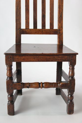 Pair of 17th Century Oak Tall Back Chairs