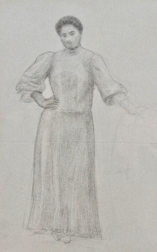 James Havard Thomas - Study of a Girl, Taormina - pencil