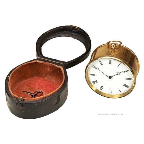 Cased Travel Drum Clock By Pierret