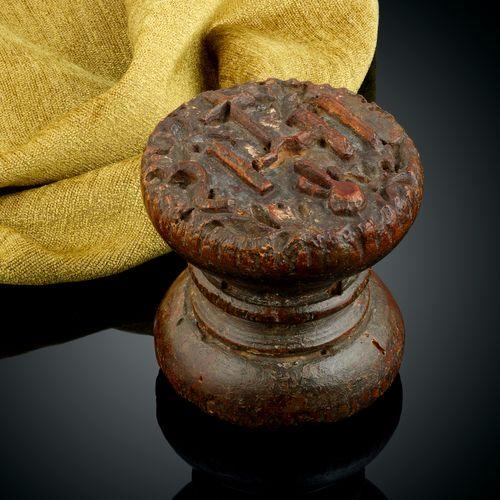 A 17th Century Rare Double Sided Cedarwood Hand Held Stamp