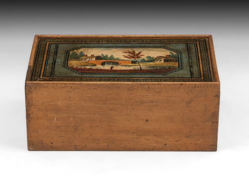 Antique Tunbridge Ware Painted Sewing Box