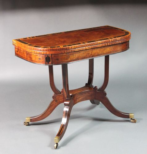 Regency pair of card tables with matching sofa table