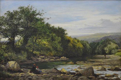 Benjamin Williams Leader RA - On the Llugwy - Oil on panel