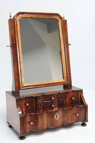 Early 18th Century Walnut Toilet Box Mirror