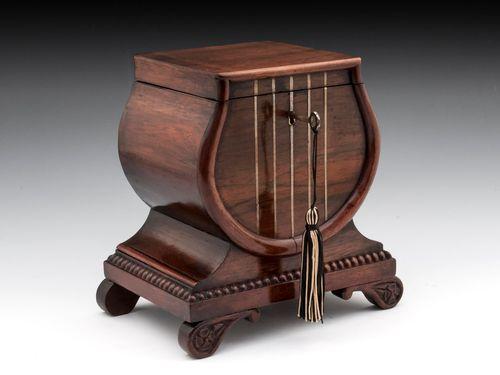 Rosewood Lyre Tea Caddy