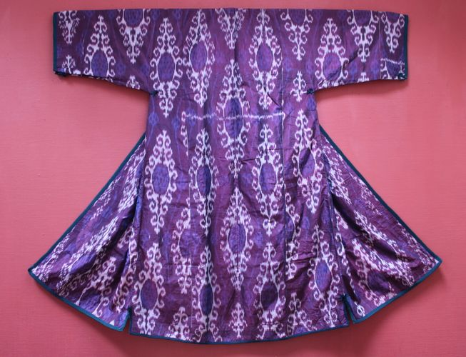 19th-century Uzbek Silk Ikat Robe