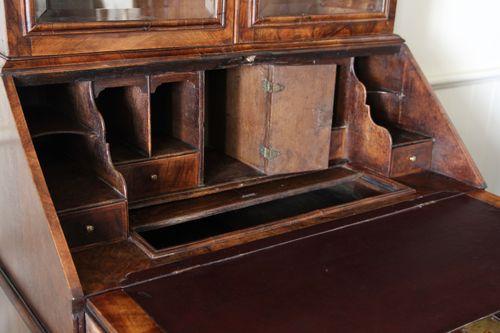 17th Century Walnut Glazed Bureau Bookcase
