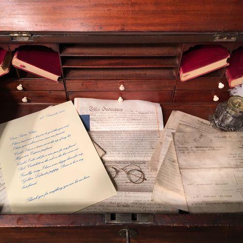 George III Period Mahogany Tally Desk
