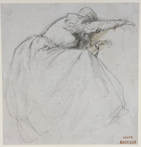 Clement Auguste Andrieux - Grief - pencil drawing