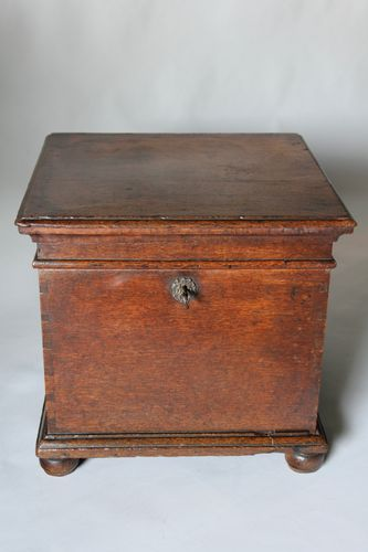 17th Century Oak Box Stool