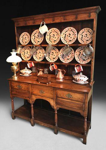 George III Oak Welsh Kitchen Dresser and Rack