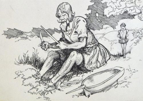 Frank Watkins - The Boat Builder Giant - Original Illustration