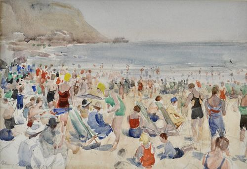 Henry Charles Brewer - On the Beach - watercolour