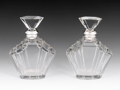 Pair of Art Deco Silver Decanters