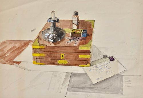 John Sergeant - Still Life with Brass Banded Box - watercolour