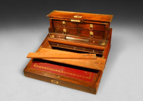 Regency Rosewood and Brass Inlaid Campaign Rising Writing Slope