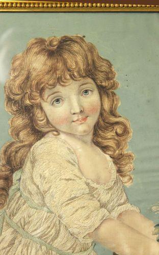 Georgian silkwork of a girl with a rabbit