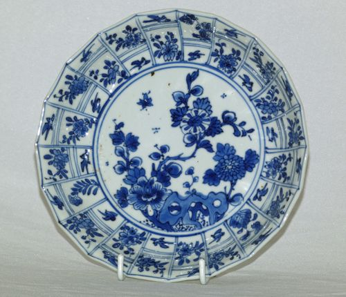 Kangxi Molded Blue and White Plate