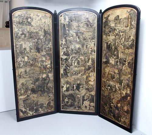 Victorian Decoupage Reversible 3-Fold Screen
