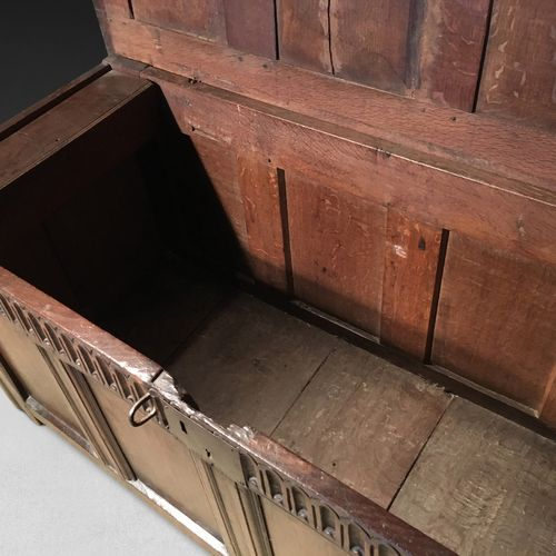 Mid 17th century Oak four panel Coffer
