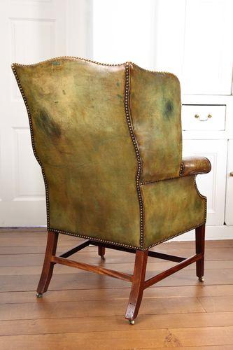 Georgian Green Leather Wing Armchair