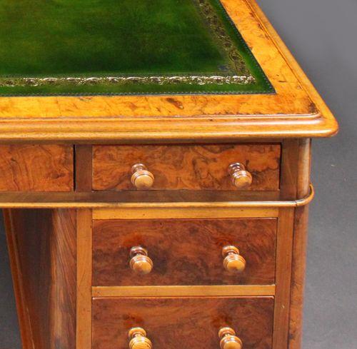 Walnut pedestal desk