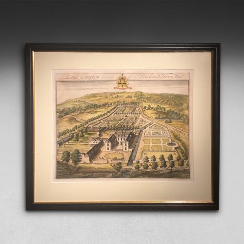 Early C18th. hand coloured engraving of Little Compton by Johannes Kip