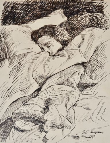 John Sergeant - Sleeping - pen and ink drawing
