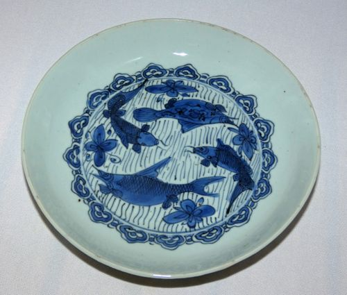 Ming - Wanli - Blue and White Porcelain Deep saucer Plate