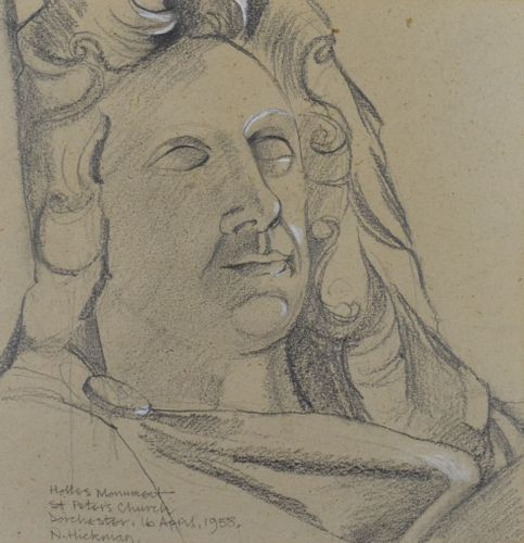 Neville Hickman - Monument to Denzil Holles - drawing