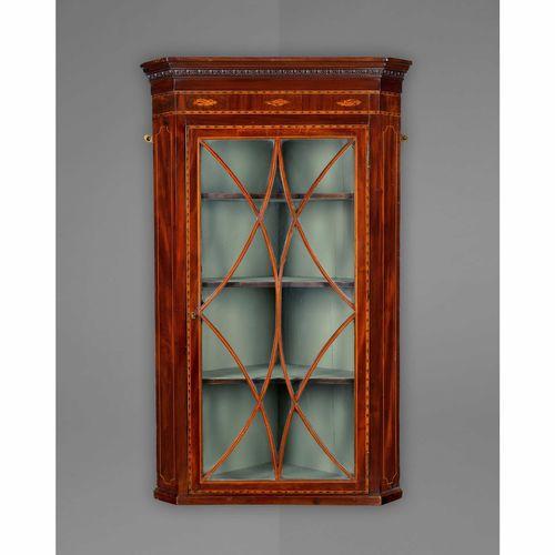 George III Mahogany Inlaid Hanging Corner Cabinet