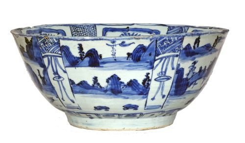 Ming Kraak Blue and White Porcelain Punch Bowl