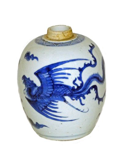 kangxi blue and White Ovoid Jar