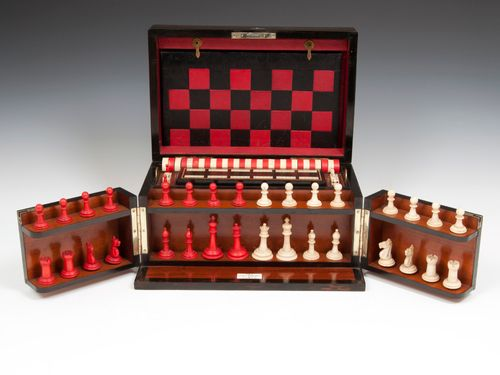 Antique Games Chess & Backgammon Box