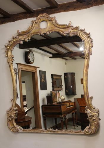Large Antique Carved Gilt Wood Wall Mirror