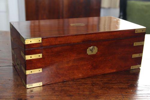 Antique Brass Banded Mahogany Writing Box