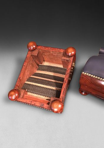 Pair of Regency Rosewood and Brass Gout Stools