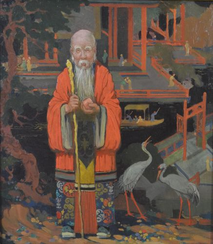 Percy Staynes - Chinese Mandarin - oil on board