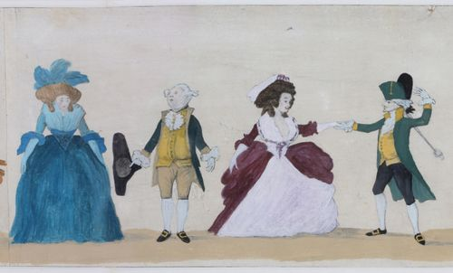"""George III Period Long Engraving """"A Long Minuet as Danced at Bath"""" by Henry William Bunbury"""