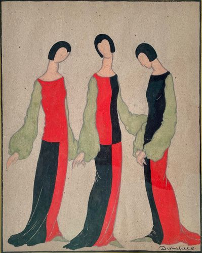 John Dronsfield - Red and Black Costume Design - watercolour