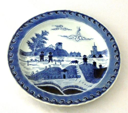 Kangxi Blue and White porcelain 'Deshima' Plate