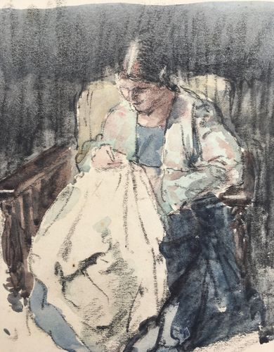 William Dring - Elizabeth Sewing - watercolour