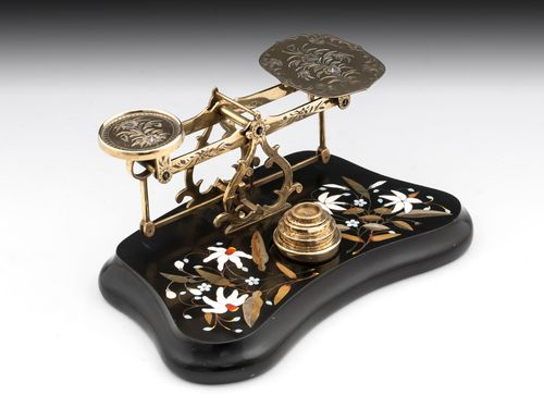 Antique Brass Engraved Pietra dura Postal Scales