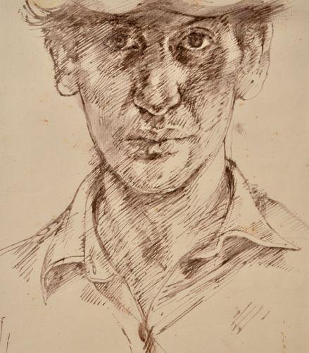 John Sergeant - Self Portrait - pen and ink