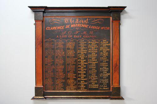 Antique Freemasonry Panelled List of Past Grands