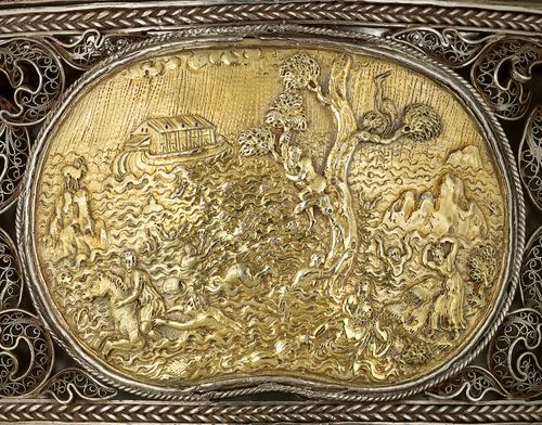 An extremely rare and unusual Silver filigree Toilet Box