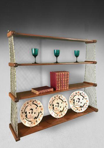 Regency Mahogany and Brass Hanging Shelves