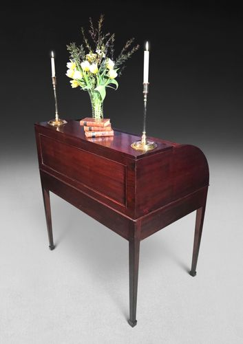 18th Century Mahogany Tambour Fronted Library Desk